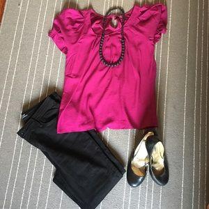 Express Pink Short Bell Sleeve Shirt